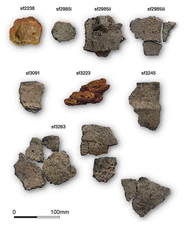 Samples of fragments of ceramic vessels from the Neolithic British salt mine. Credit: Stephen J. Sherlock / Antiquity, 2021
