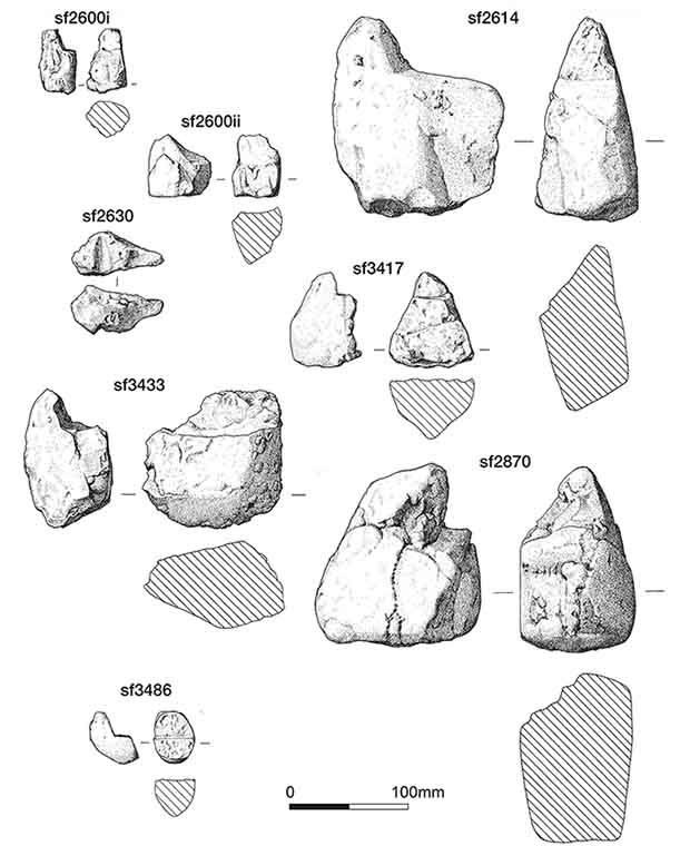 Stone tools found in the building with hearths. Credit: Stephen J. Sherlock / Antiquity, 2021