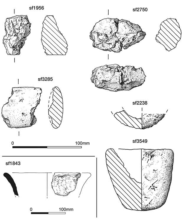 Fragments of lining of foci and ceramic vessels. Credit: Stephen J. Sherlock / Antiquity, 2021