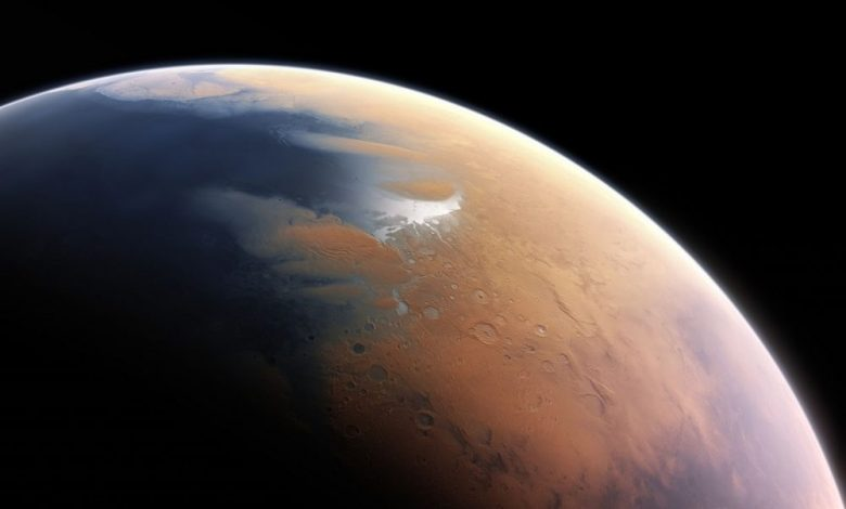 Artist's impression of how Mars may have looked four billion years ago[53]
