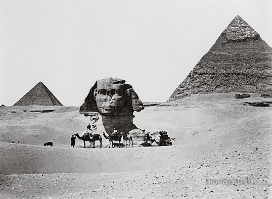 Ancient Code Pyramids and Sphinx Giza Egypt 1860. Image Credit: Photographium Historic Photo Archive