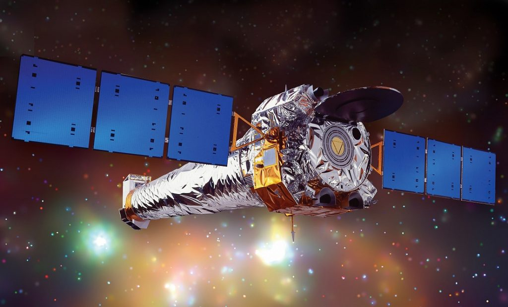 Artist illustration of the Chandra X-ray Observatory. Chandra is the most sensitive X-ray telescope ever built. Image Credit: Wikimedia Commons.