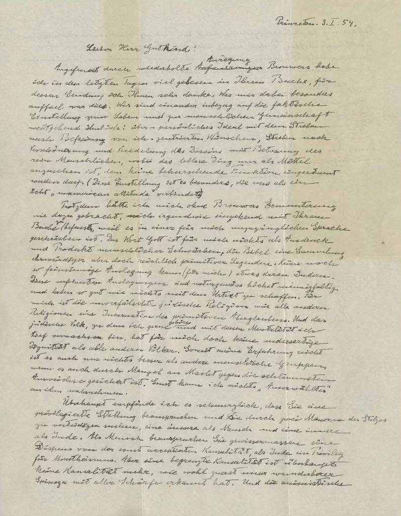 The 1954 letter written by Einstein, in which he pushed back on religious ideas like a personal God. Image Credit: Christie's Images Limited