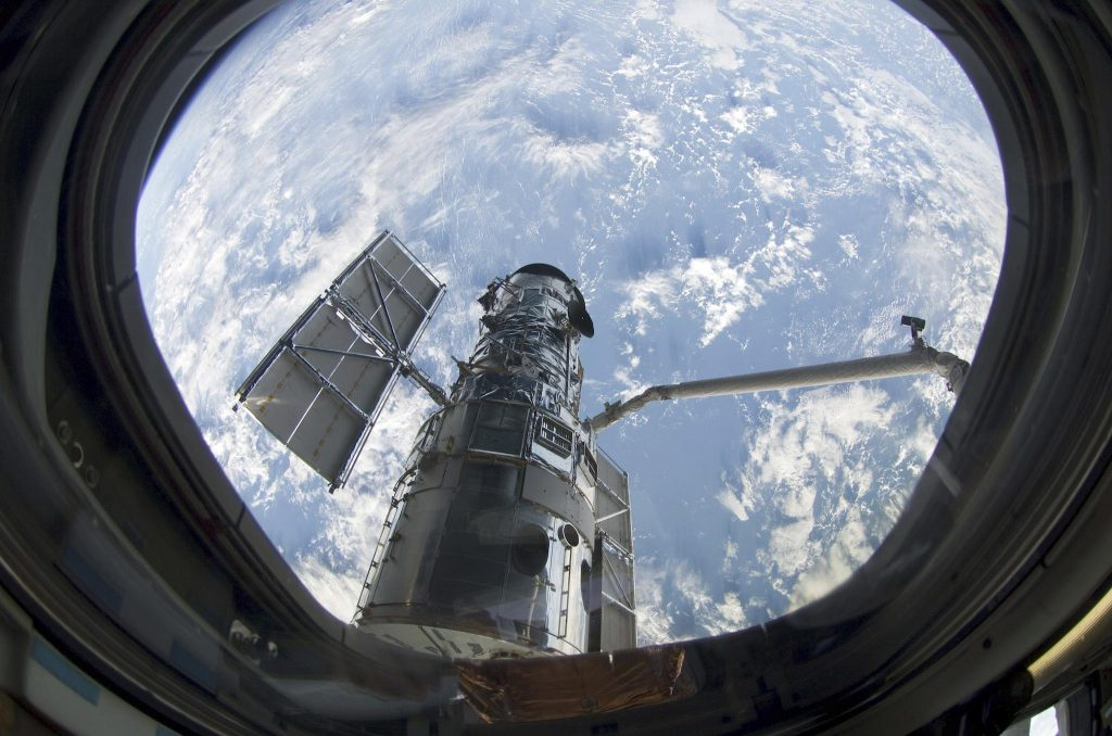 Hubble seen from Space Shuttle Atlantis during the telescope's last servicing mission in 2009 Image: NASA