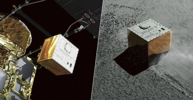Right: Illustration of MASCOT landing on the surface of the asteroid Ryugu. Credit: JAXA