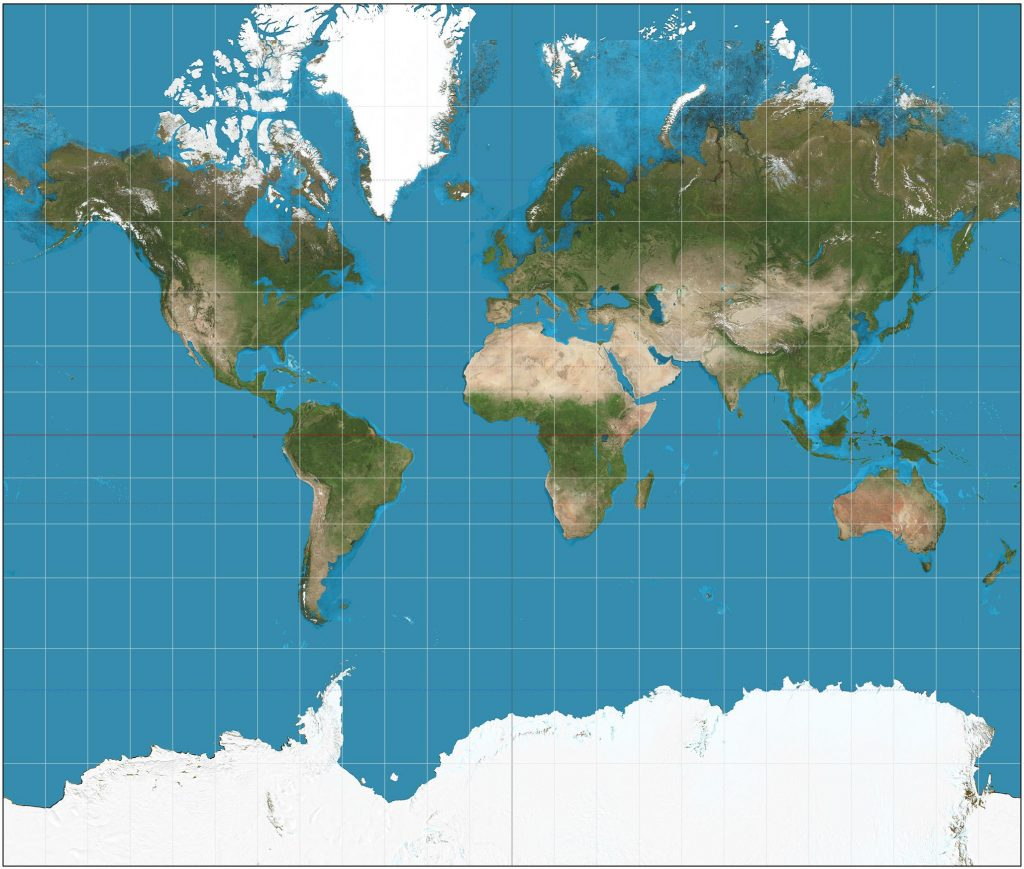 A traditional Mercator projection map of the world, showing distortions the further away from the equator. Image Credit: Wikimedia Commons.