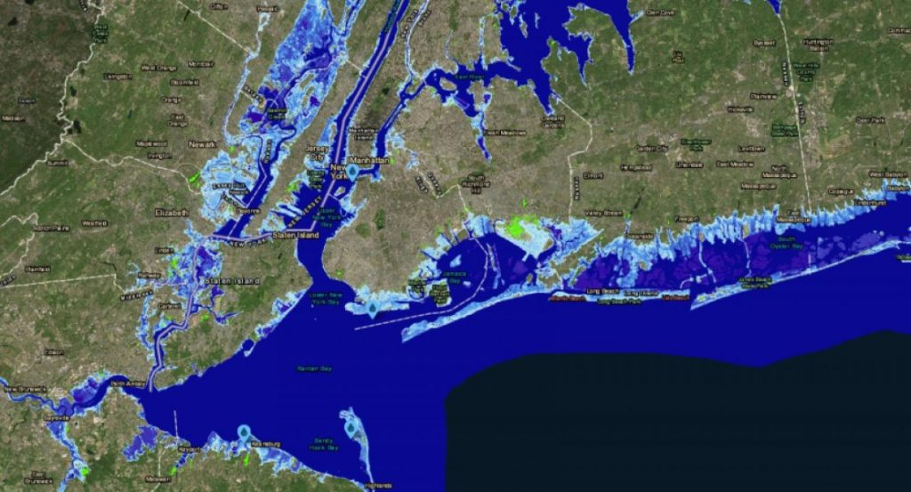 Parts of New Jersey and New York with 8 feet of sea-level rise. An almost 8-foot rise is possible by 2100 under a worst-case scenario, according to projections. The light-blue areas show the extent of permanent flooding. The bright green areas are low-lying. Credit: NOAA Sea Level Rise Viewer