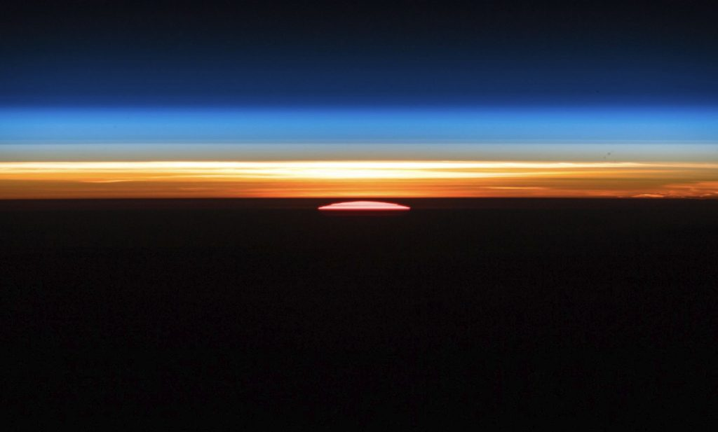 The Sunrise as seen on board the International Space Station. Image Credit: Alexander Gerst.