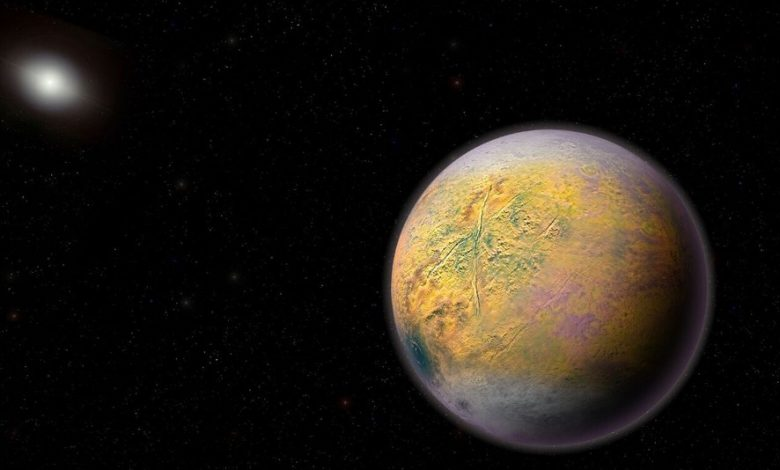 The newly found planet is thought to be located 2.5 times further from the sun than Pluto. Image Credit: Carnegie Institute for Science.