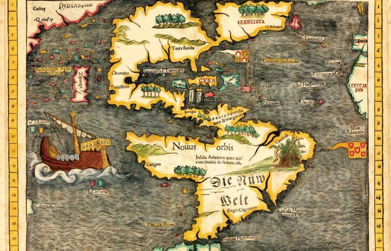 Sebastian Munster's map, published in 1540, the first to show America as a continent.