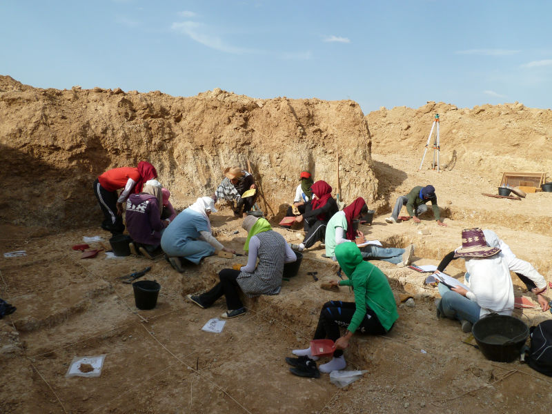 Archaeologists working at Ain Boucherit. Image Credit: M. Sahnouni