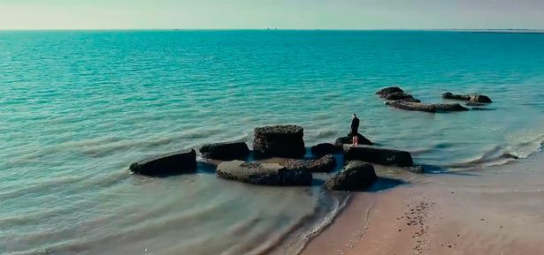 MAsive pillars on an Andalusian beach may have belonged to Atlantis. Image Credit: Ingenio Films/ Magnus News Agency.