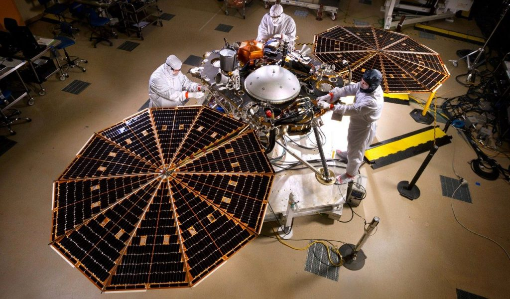 The InSight Lander being assembled by Lockheed Martin. Image Credit: Lockheed Martin.