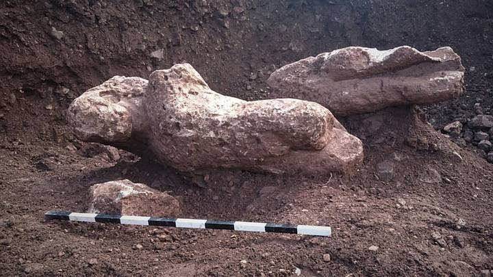 So gar, experts have uncovered four naked limestone statues. Image credit: Greek Culture Ministry via AP