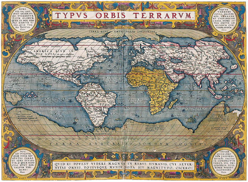 "On this 1570 map, Hyperborea is shown as an Arctic continent and described as ""Terra Septemtrionalis Incognita"" (Unknown Northern Land). Notice the similarities in the continent to that of Mercator's map above. Image Credit: Wikimedia Commons."