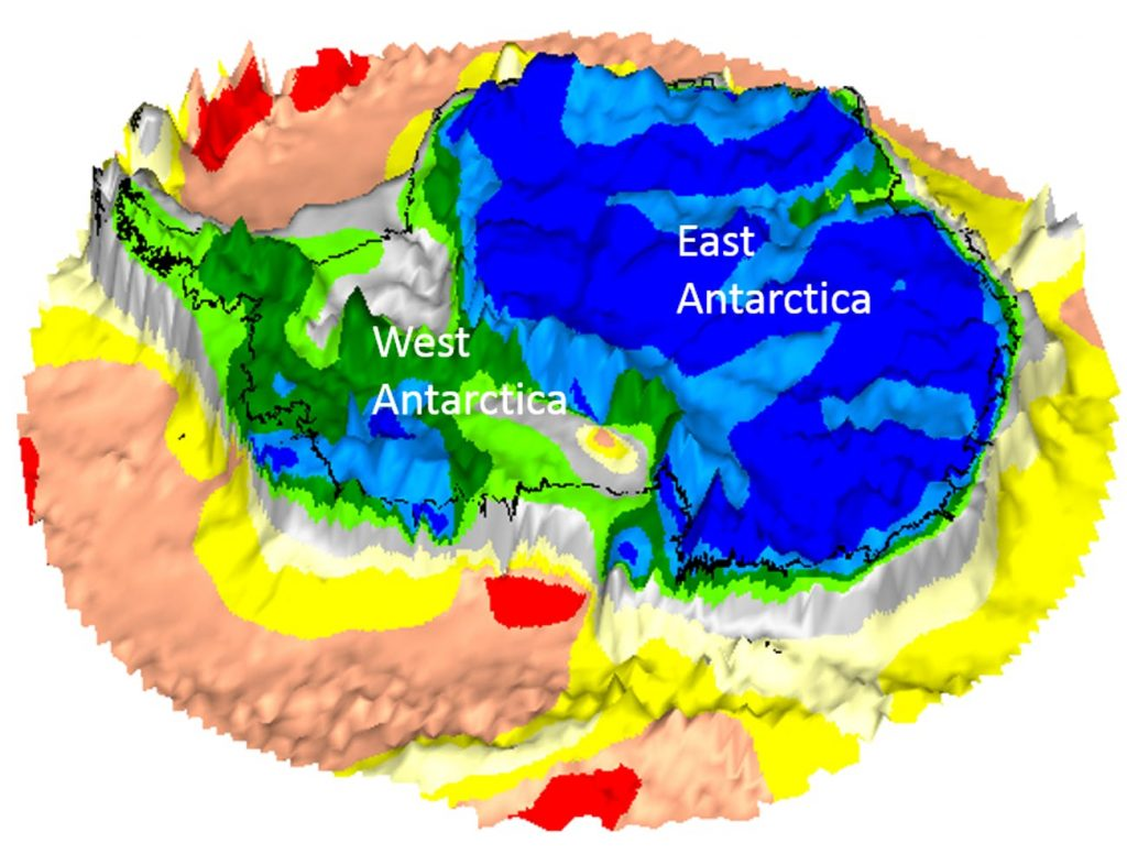 A GOCE map of Antarctica on bedrock topography. Kiel University/BAS