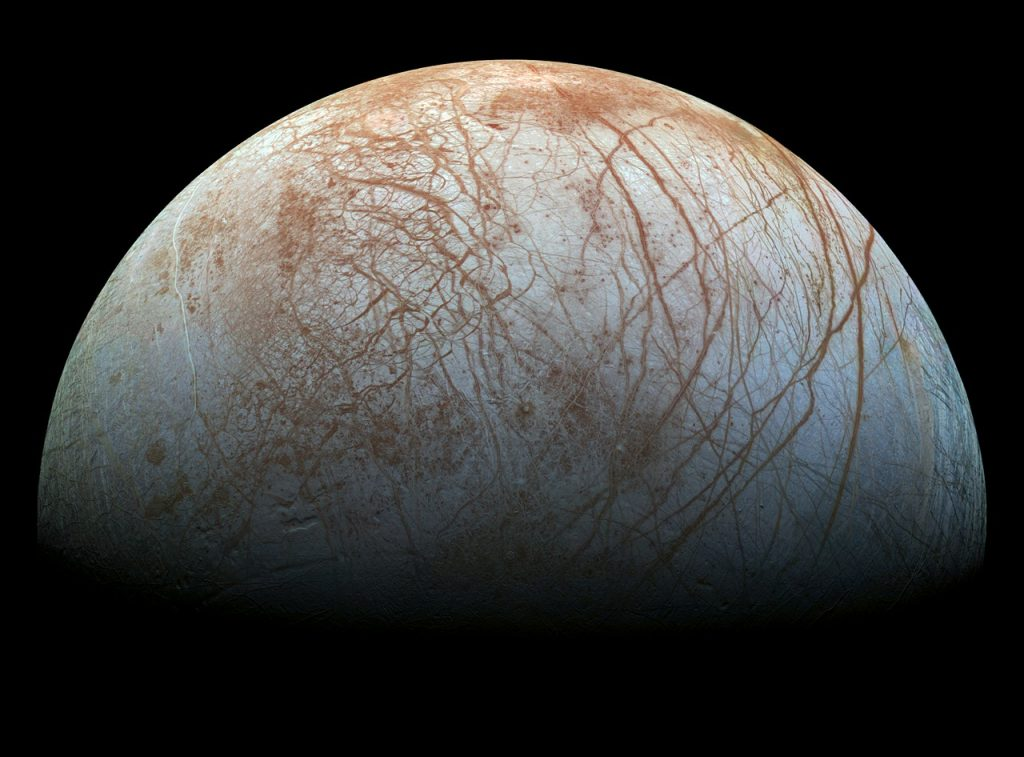 Jupiter's Moon Europa is one of the most promising places where we could find alien life, say experts. Image Credit: Pixabay.