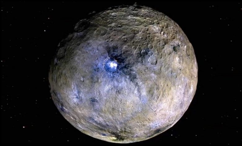 Dwarf planet Ceres is shown in these false-color renderings, which highlight differences in surface materials. Image Credit: NASA/JPL-CalTech/UCLA/MPS/DLR/IDA