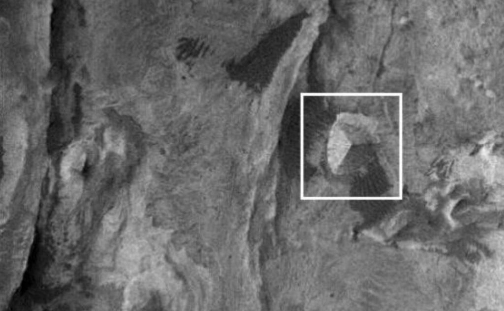 The geological formation that supposedly resembles a three-sided Pyramid on Mars.