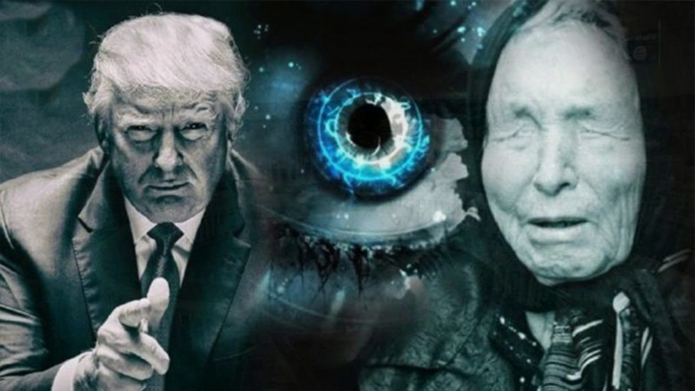 """Photo collage of Baba Vanga and president Donald Trump, with a """"seeing"""" eye in between them."""