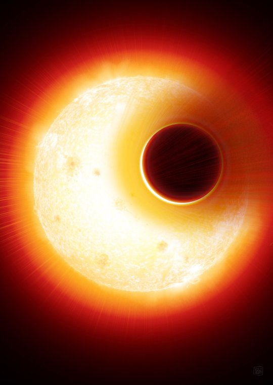 Artist's impression of the exoplanet HAT-P-11b. Image Credit: Denis Bajram