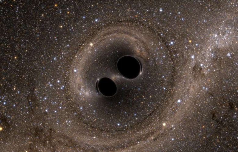 An artists Impression of two black holes colliding and merging. Image Credit: SXS.