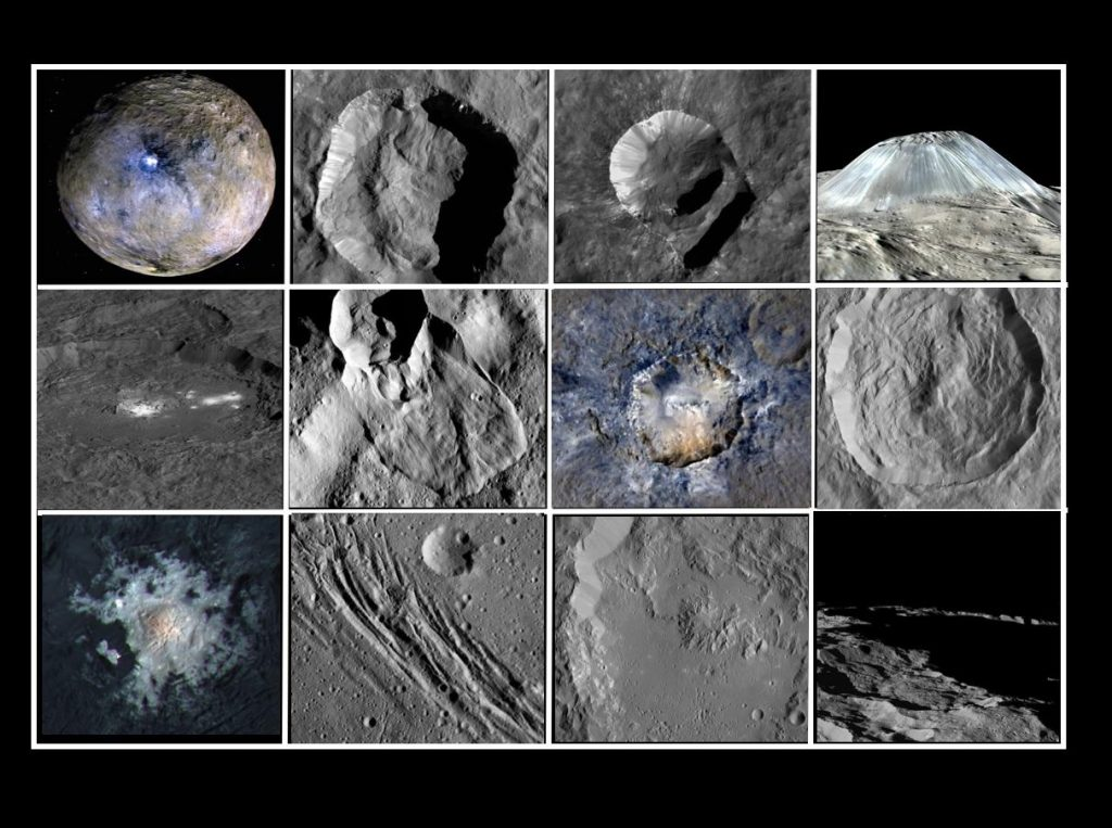 Notable geological features on Ceres. Image Credit: Wikimedia Commons.