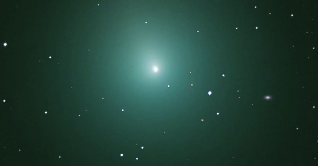 Astrophotographer Chris Schur captured this 60-minute exposure of the incoming Comet 46P/Wirtanen on Dec. 3, 2018. Image Credit: Chris Schur.