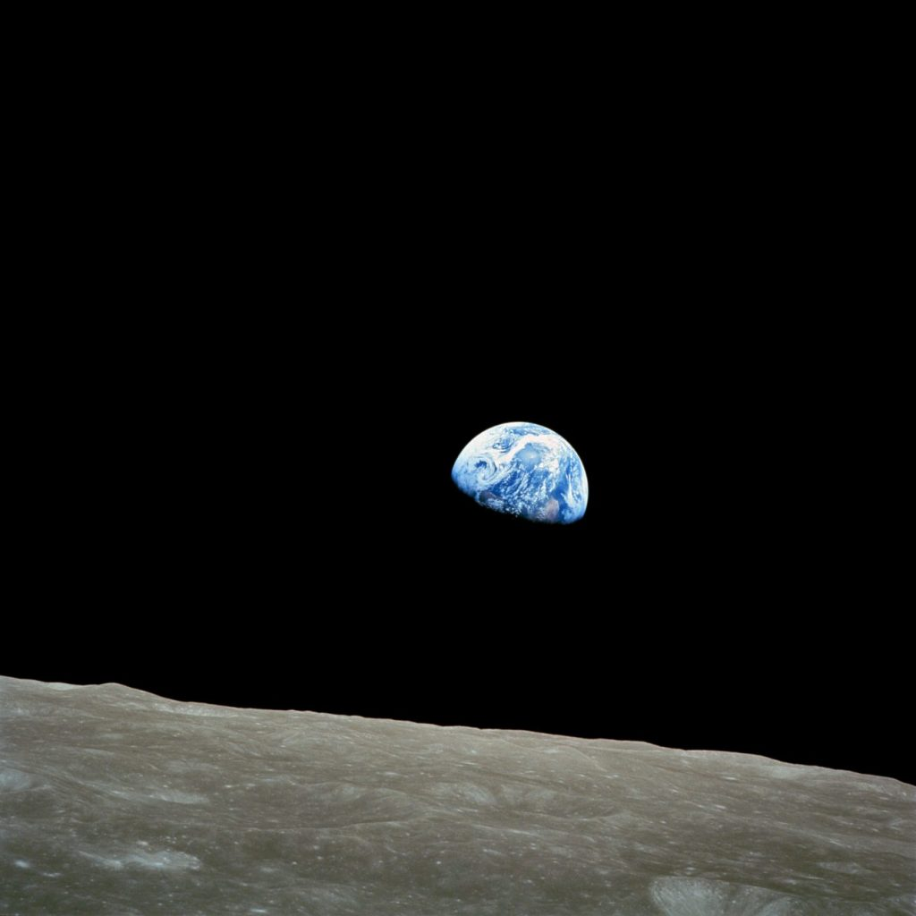 Earthrise, taken from Apollo 8 by astronaut William Anders on December 24, 1968. Image Credit: NASA.