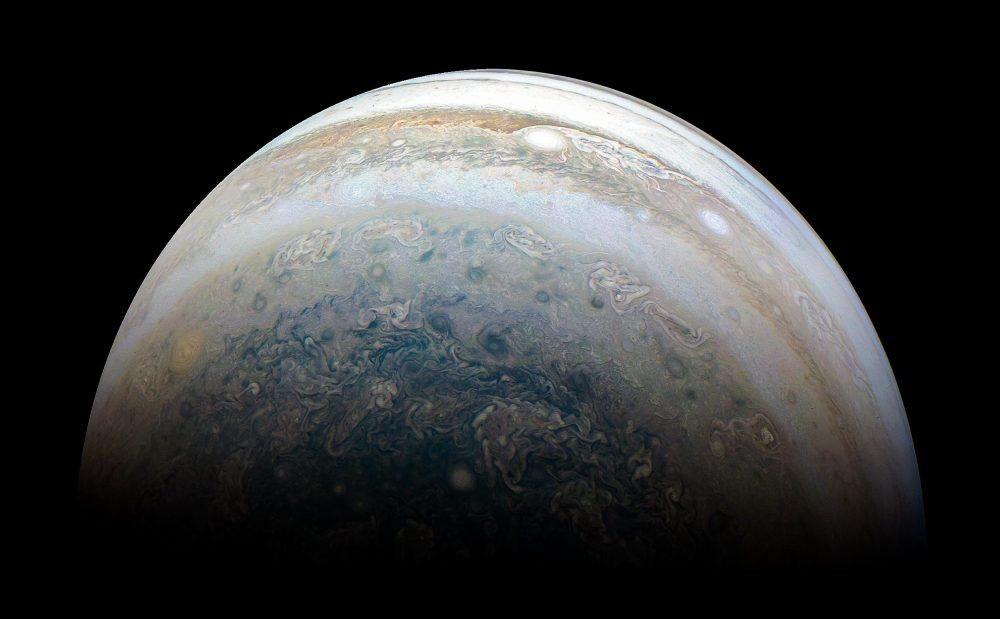 This stunning image of Jupiter is the result of citizen scientist Kevin M. Gill and data from the Juno spacecraft. Image Credit: Kevin M. Gill / Juno / NASA.