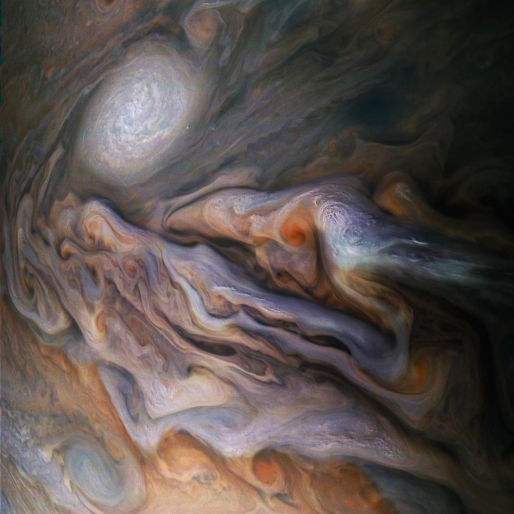 Jupiter's Magnificent Swirling Clouds. Image Credit: Juno / NASA.