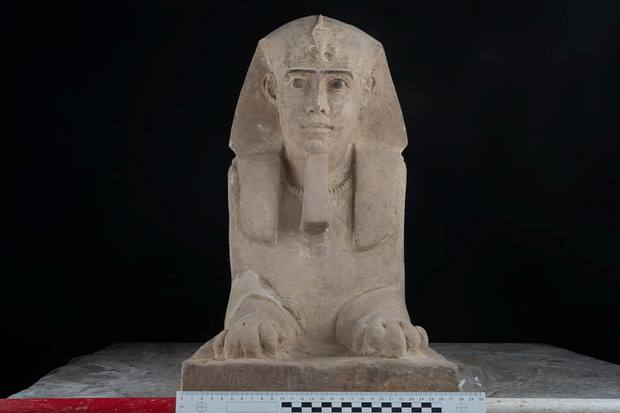 The unearthed Sphinx after it was restored. Image Credit: Egyptian Ministry of Antiquities.