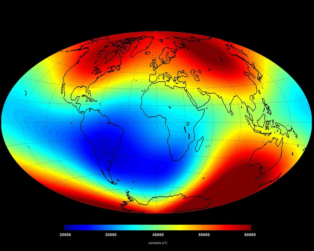 The Earth's magnetic field has been weakening over the South Atlantic (blue region). Image credit - ESA/DTU Space.