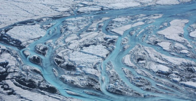 Large rivers form on the surface of Greenland each summer, rapidly moving meltwater from the ice sheet to the ocean. Image Credit: Sarah Das, Woods Hole Oceanographic Institution