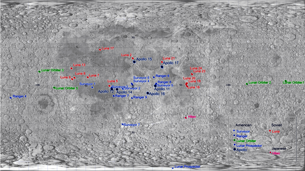 Locations of large artificial objects on the Moon superimposed on data from the Clementine mission in equirectangular projection. Image Credit: Wikimedia Commons.