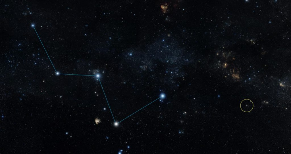 "Star HR 8832 (circled) lies just off the ""W"" shape of the constellation Cassiopeia. Image Credit: Wikimedia Commons."