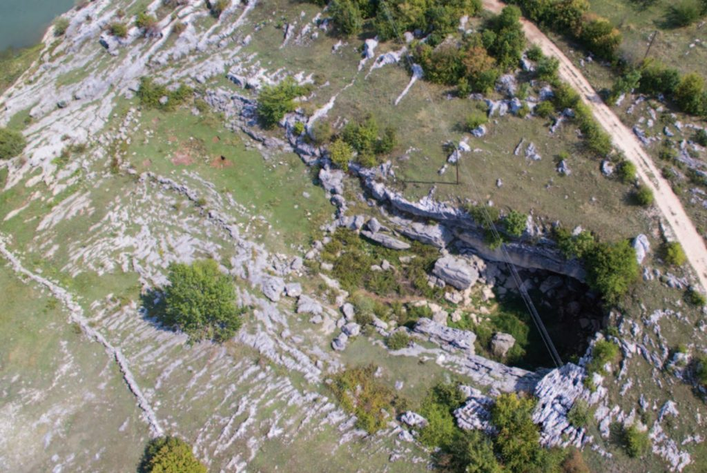 Aerial photograph of the cave and the front plateau. Image Credit: B. Šimunović.