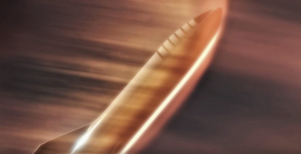 SpaceX's Starship illustrated entering Mars' atmosphere at high speeds. Image Credit: SpaceX.