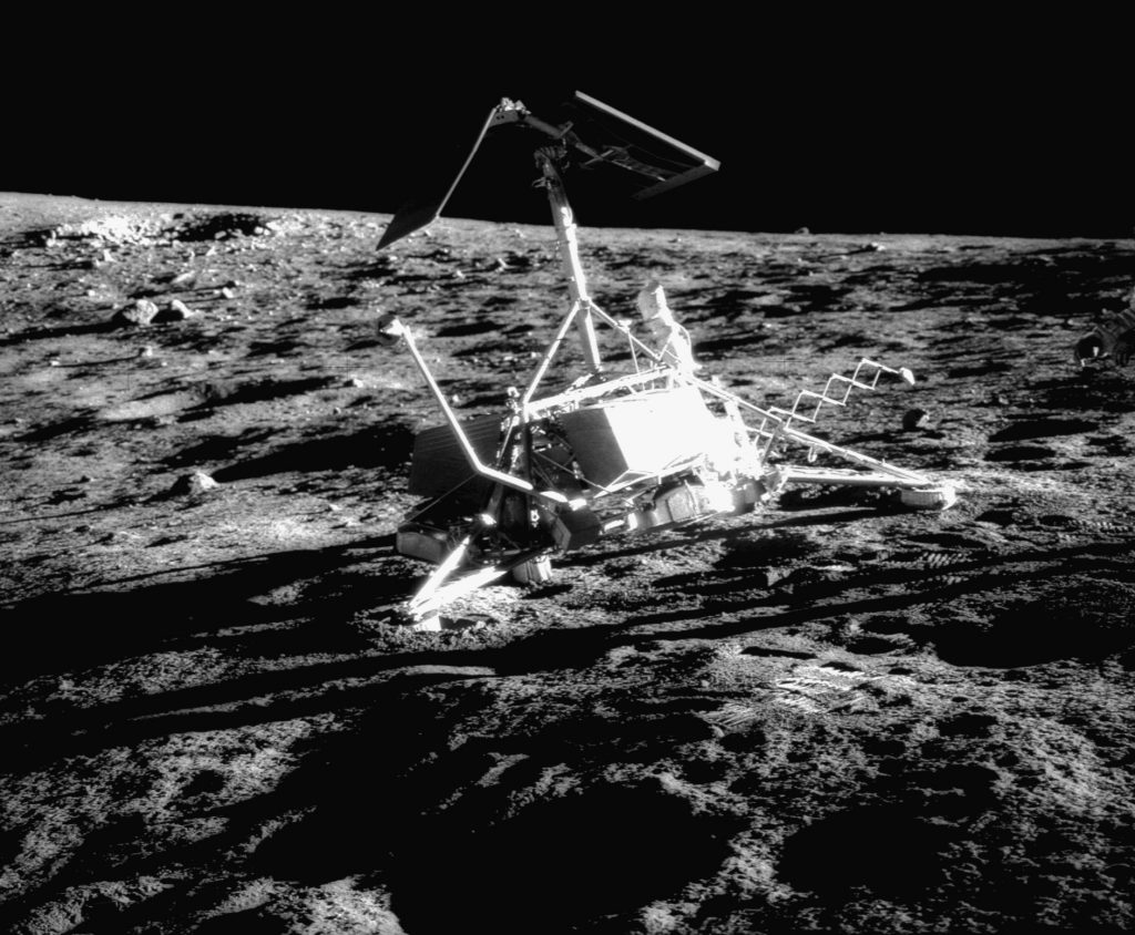 Surveyor 3 on the Moon, photographed by Alan Bean. Image Credit: Wikimedia Commons.