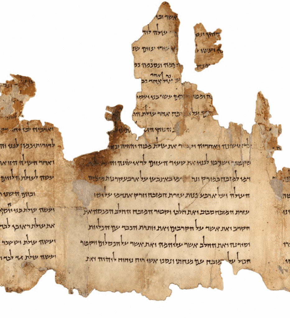 A view of part of the Temple Scroll that was found in Qumran Cave 11. Image Credit: Wikimedia Commons.