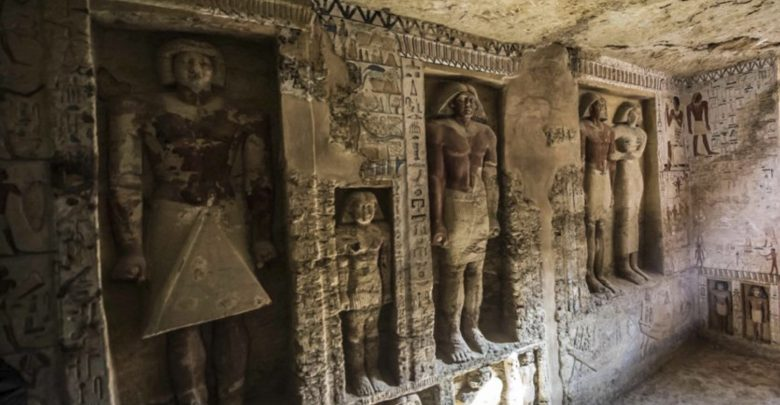 """This picture taken on December 15, 2018 shows a general view of a newly-discovered tomb belonging to the high priest """"Wahtye"""" who served during the fifth dynasty reign of King Neferirkare (between 2500-2300 BC). Image Credit: AFP / Ahram Online."""