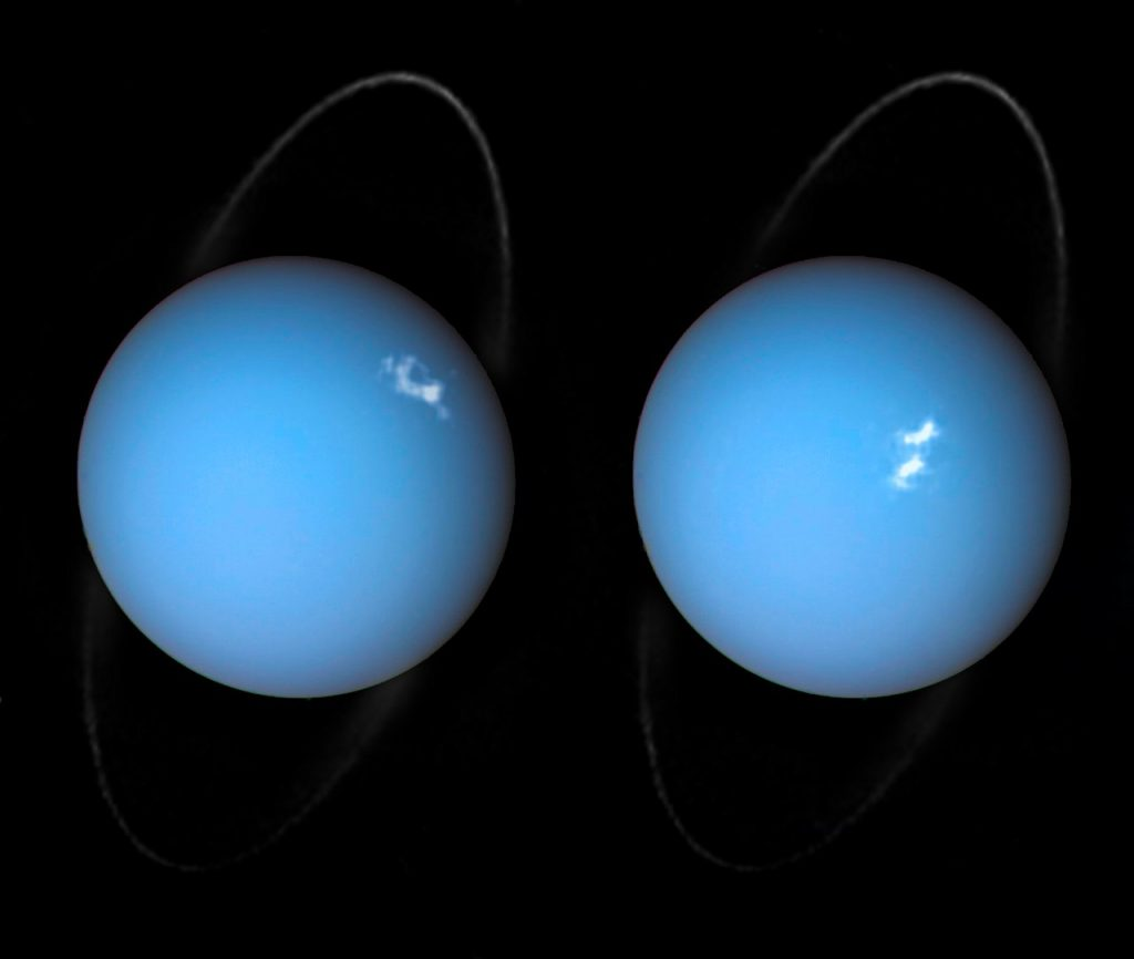 Aurorae on Uranus taken by the Space Telescope Imaging Spectrograph (STIS) installed on Hubble. Image Credit: Wikimedia Commons.