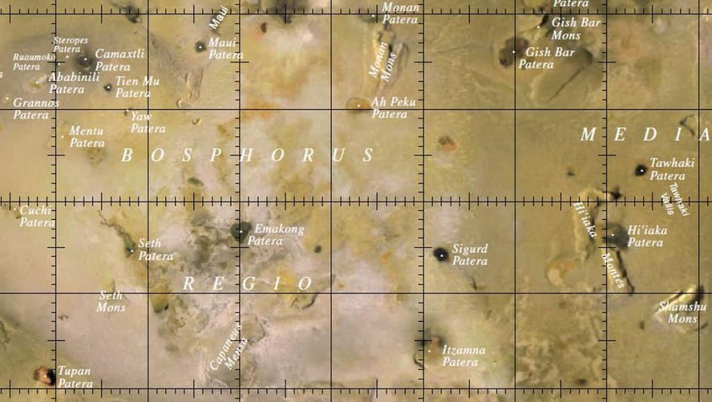 A map of part of Io, with names added. Image Credit: USGS.