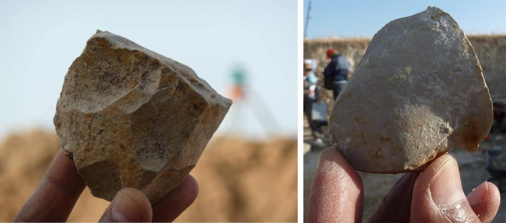Two examples of stone tools from Ain Boucherit. An Oldowan core from which sharp-edged cutting flakes were removed (left). Sharp-edged cutting flake that may be used for butchery activities on the bones (right).Image Credit: Mohamed Sahnouni.