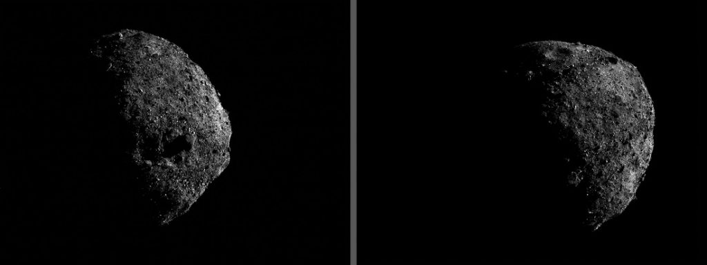 These two OpNav images of Bennu's southern hemisphere, which each have an exposure time of about 1.4 milliseconds, were captured Jan. 17 from a distance of about one mile (1.6 km). Image Credit: OSIRIS-REx.