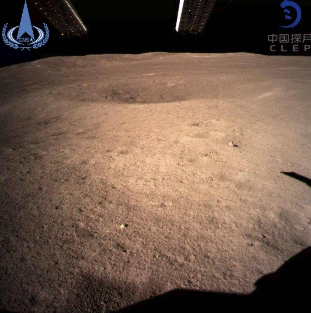The first image of the moon's far side snapped by China's Chang'e 4 probe, which touched down on he far side of the moon on Jan. 2, 2019 (Jan. 3 Beijing time). Image Credit: CNSA.