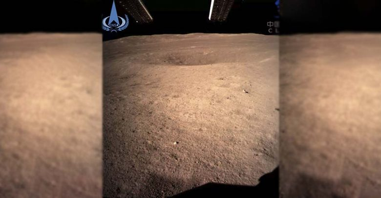 The first image of the moon's far side taken by China's Chang'e 4 probe. Image Credit: CNSA.