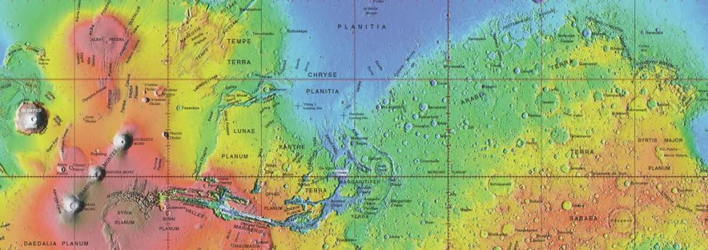Approved names on global topographic map of Mars. Image Credit: USGS.