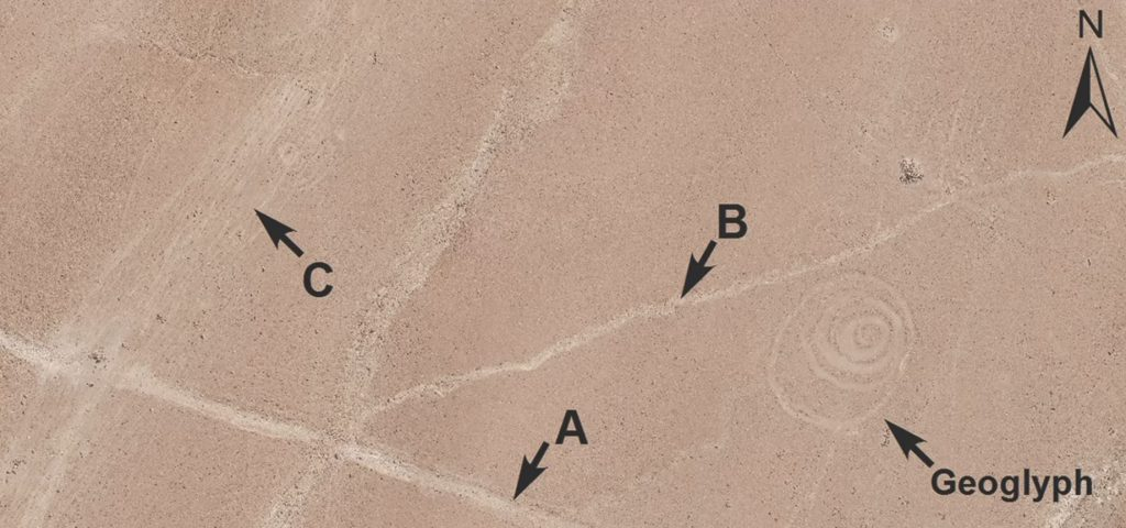 The mysterious Geoglyphs etched into the Southern Peruvian Desert. Image Credit: Bikoulis et al, Antiquity.