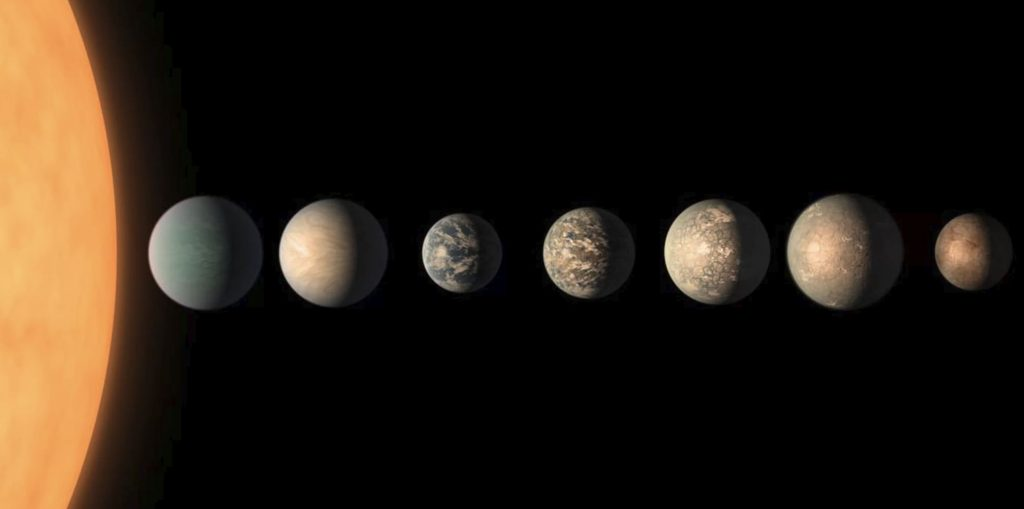 An artist's concept of the TRAPPIST-1 worlds, based on available data about the planets' characteristics. Image Credit: NASA/JPL-Caltech.
